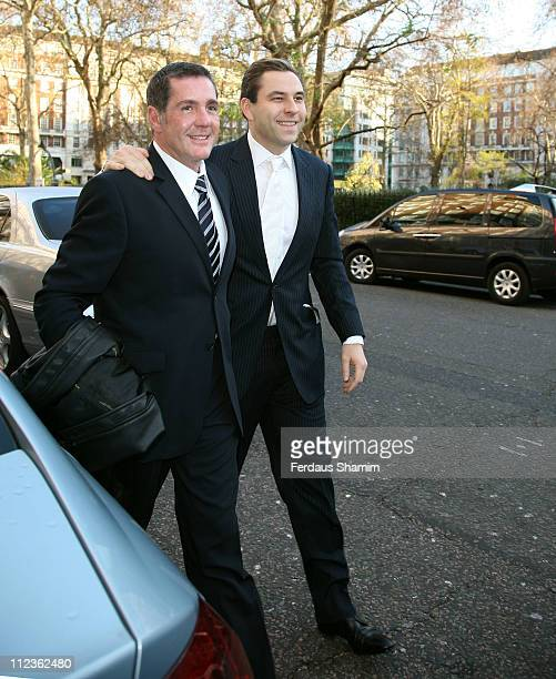 Dale Winton and David Walliams during Matt Lucas and Kevin McGee Civil Partnership Ceremony December 17 2006 at Home House in London Great Britain