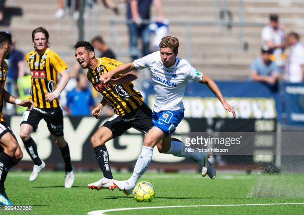 Daleho Irandust of BK Hacken and Alexander Fransson of IFK Norrkoping competes for the ball during the Allsvenskan match between IFK Norrkoping and...