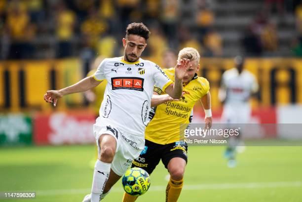 Daleho Irandust of BK Hacken and Simon Strand of IF Elfsborg during the Allsvenskan match between IF Elfsborg and BK Hacken at Boras Arena on June 2...