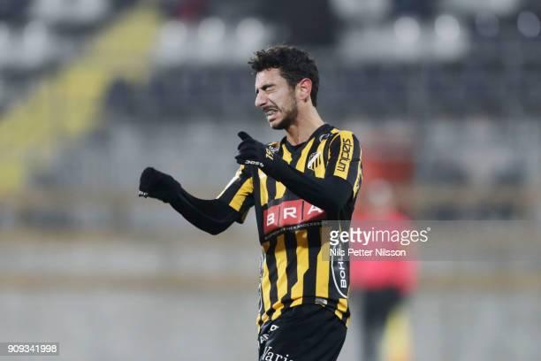 Daleho Irandust of BK Hacken dejected during the preseason friendly match between BK Hacken and Utsiktens BK at Bravida Arena on January 23 2018 in...