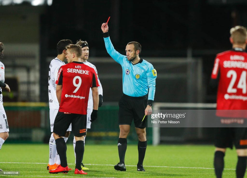 Daleho Irandust of BK Hacken is shown a red card by Kaspar Sjöberg, referee, during the Allsvenskan match between IF Brommapojkarna and BK Hacken at Grimsta IP on April 9, 2018 in Stockholm, Sweden.