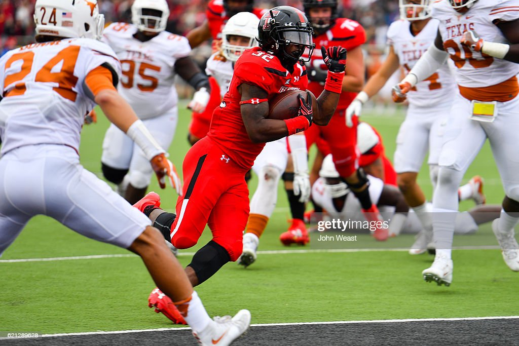 Da'Leon Ward #32 of the Texas Tech Red Raiders scores a touchdown during the game against the Texas Longhorns on November 5, 2016 at AT&T Jones Stadium in Lubbock, Texas. Texas defeated Texas Tech 45-37.