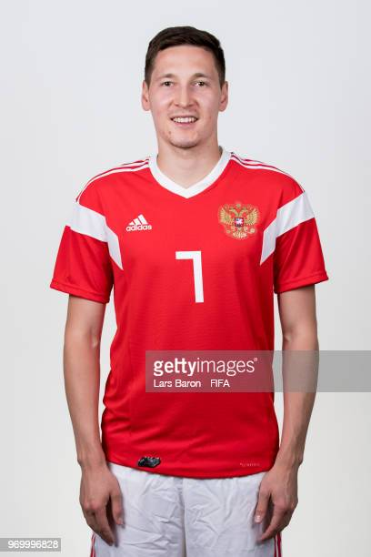 Daler Kuziaev of Russia poses for a portrait during the official FIFA World Cup 2018 portrait session at Federal Sports Centre Novogorsk on June 8...
