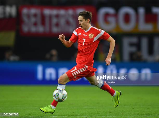 Daler Kuzyaev of Russia in action during an International Friendly match between Germany and Russia at Red Bull Arena on November 15, 2018 in...