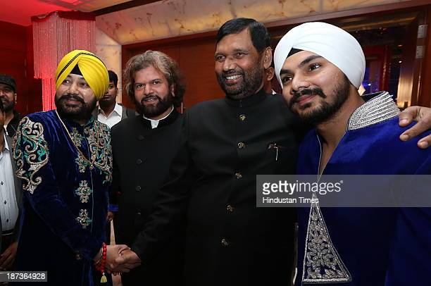 Daler Mehndi Hans Raj Hans LJP Chief Ram Vilas Paswan and Gurdeep Mehndi during prewedding party of singer Daler Mehndi's daughter Ajit Kaur with...