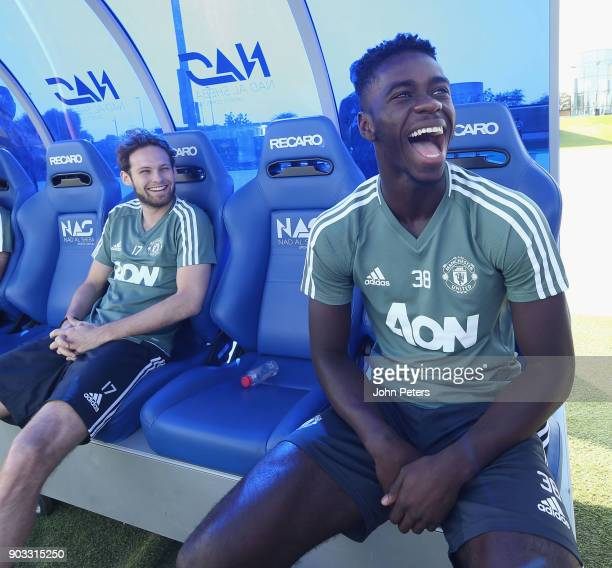 Daley Blind and Axel Tuanzebe of Manchester United in action during a first team training session at Nad Al Sheba Sports Complex on January 10 2018...