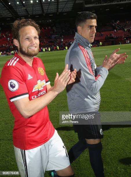 Daley Blind and Joel Pereira of Manchester United take part in a lap of honour after the Premier League match between Manchester United and Watford...