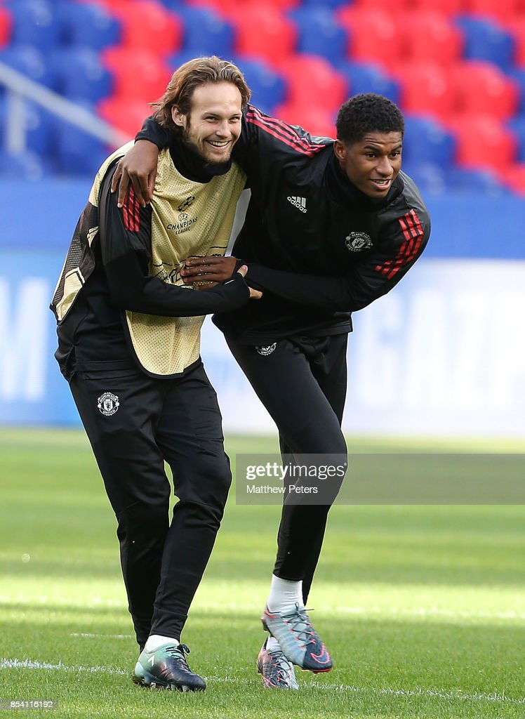 Daley Blind and Marcus Rashford of Manchester United in action during a training session ahead of their UEFA Champions League match against CSKA Moscow at VEB Arena on September 26, 2017 in Moscow, Russia.