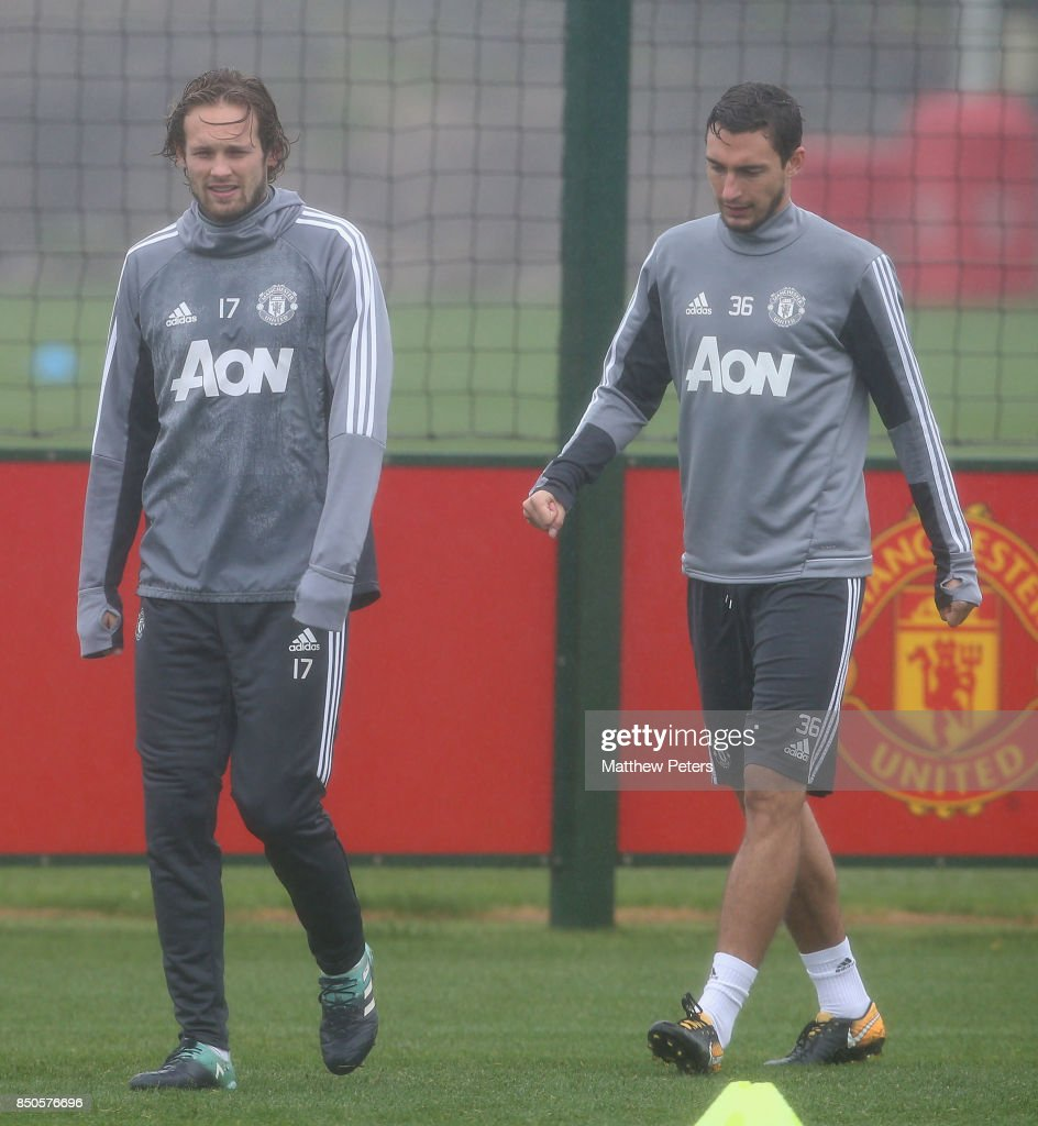 Daley Blind and Matteo Darmian of Manchester United in action during a first team training session at Aon Training Complex on September 21, 2017 in Manchester, England.