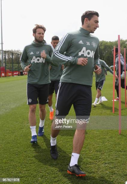 Daley Blind and Matteo Darmian of Manchester United in action during a first team training session at Aon Training Complex on May 12 2018 in...