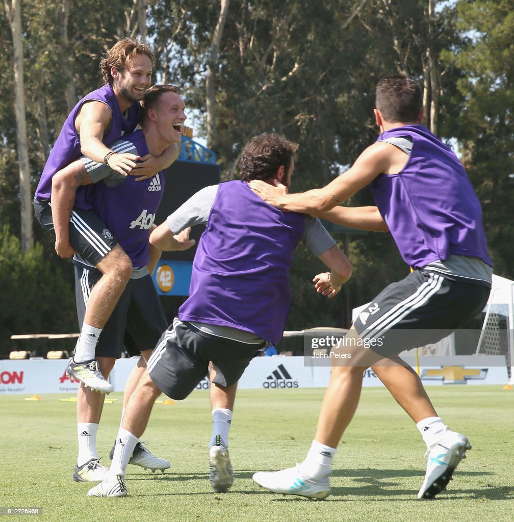 Daley Blind and Phil Jones of Manchester United in action during a first team training session as part of the club's pre-season tour of the USA at UCLA on July 11, 2017 in Los Angeles, California.