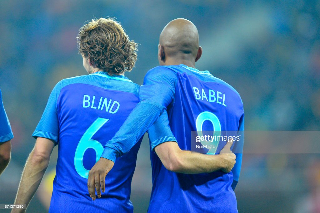 Daley Blind and Ryan Babel (Ned) during the International Friendly match between Romania and Netherlands at National Arena Stadium in Bucharest, Romania, on 14 november 2017.