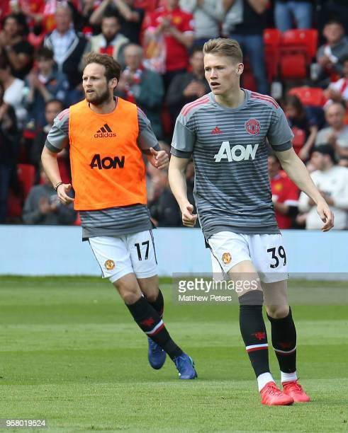 Daley Blind and Scott McTominay of Manchester United warm up ahead of the Premier League match between Manchester United and Watford at Old Trafford...