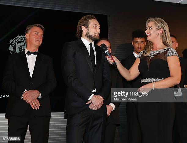 Daley Blind is interviewed by host Hayley McQueen at the club's annual Player of the Year awards at Old Trafford on May 2 2016 in Manchester England