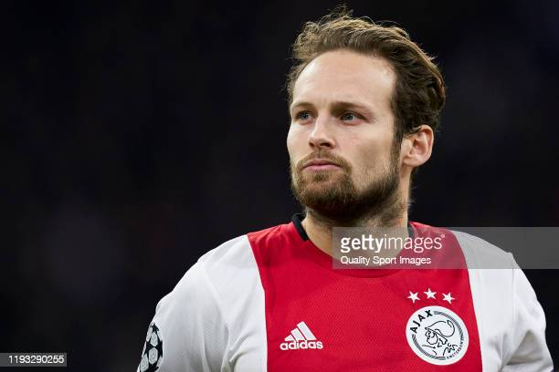 Daley Blind of AFC Ajax looks on prior to the UEFA Champions League group H match between AFC Ajax and Valencia CF at Amsterdam Arena on December 10,...
