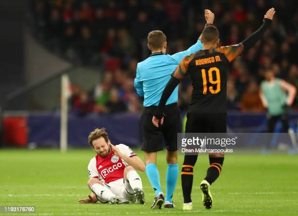 Daley Blind of AFC Ajax reacts during the UEFA Champions League group H match between AFC Ajax and Valencia CF at Amsterdam Arena on December 10,...