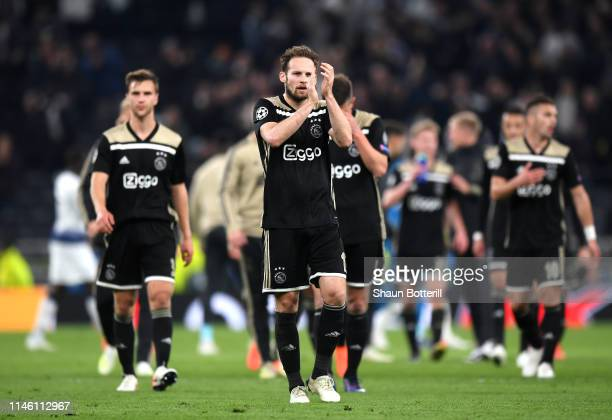 Daley Blind of Ajax acknowledges the fans after the UEFA Champions League Semi Final first leg match between Tottenham Hotspur and Ajax at at the...