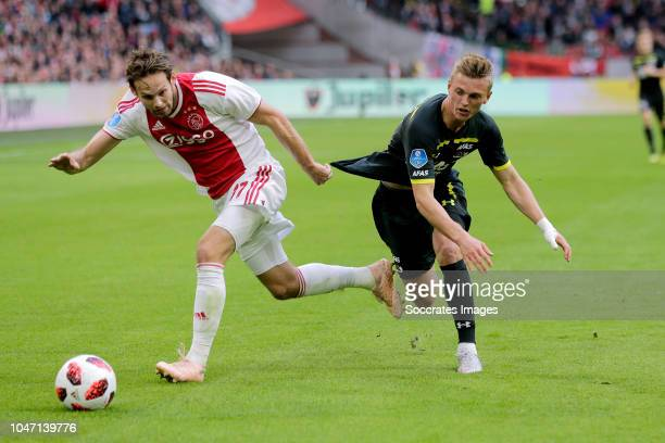 Daley Blind of Ajax Albert Gudmundsson of AZ Alkmaar during the Dutch Eredivisie match between Ajax v AZ Alkmaar at the Johan Cruijff Arena on...