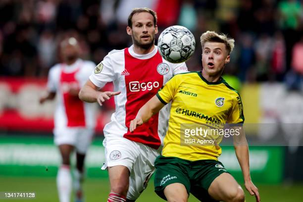 Daley Blind of Ajax and Emil Hansson of Fortuna Sittard during the Dutch Eredivisie match between Fortuna Sittard and Ajax at Fortuna Sittard Stadion...