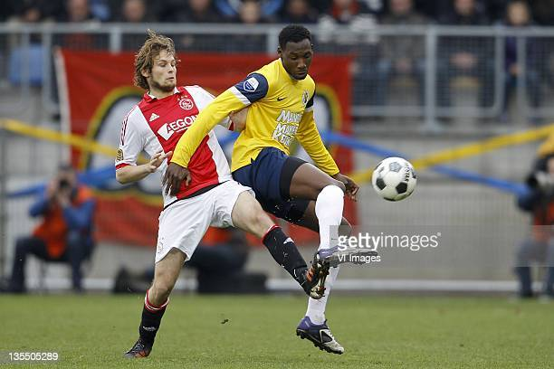 Daley Blind of Ajax and Geoffrey Castillion of RKC Waalwijk during the Eredivisie match between RKC Waalwijk and Ajax at the Mandemakers stadium on...