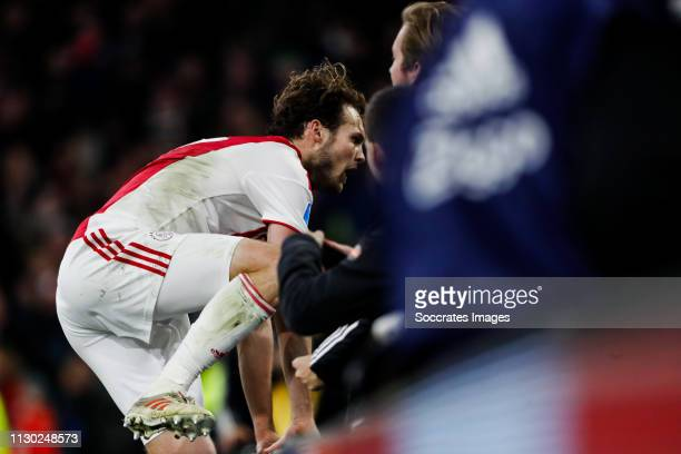 Daley Blind of Ajax, celebrate his goal the 2-1 during the Dutch Eredivisie match between Ajax v PEC Zwolle at the Johan Cruijff Arena on March 13,...