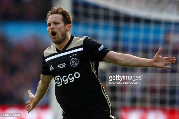 Daley Blind of Ajax celebrates after scoring his team's first goal during the Dutch Toto KNVB Cup Final between Willem II and Ajax at De Kuip on May...