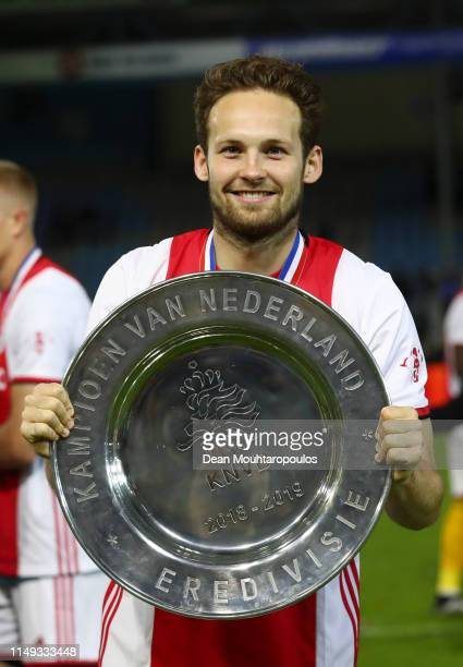 Daley Blind of Ajax celebrates with the trophy after winning the Eredivisie following the Eredivisie match between De Graafschap and Ajax at Stadion...