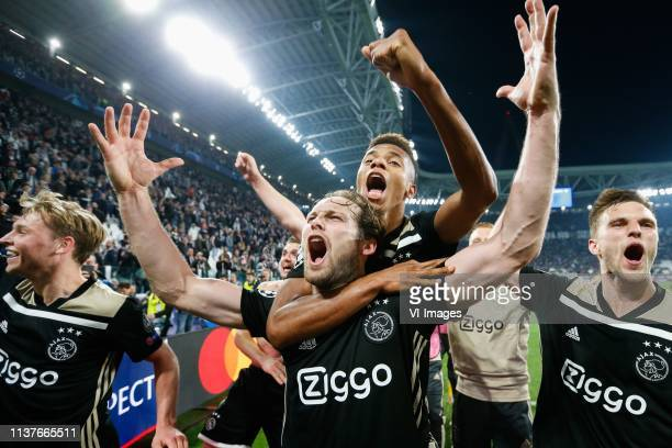 Daley Blind of Ajax David Neres of Ajax during the UEFA Champions League quarter final match between Juventus FC and Ajax Amsterdam at the Allianz...