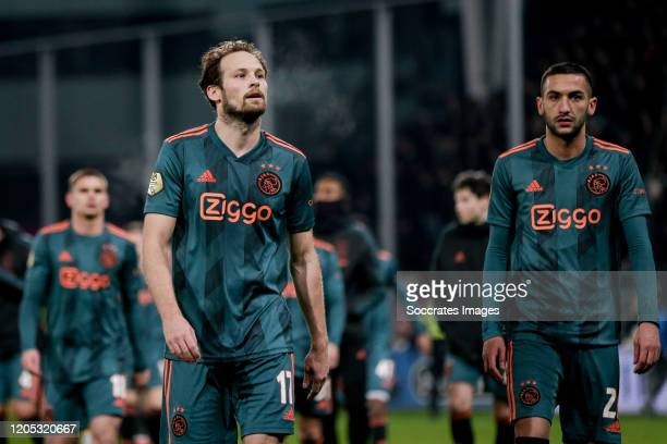 Daley Blind of Ajax Hakim Ziyech of Ajax disappointed after the game during the Dutch KNVB Beker match between FC Utrecht v Ajax at the Stadium...