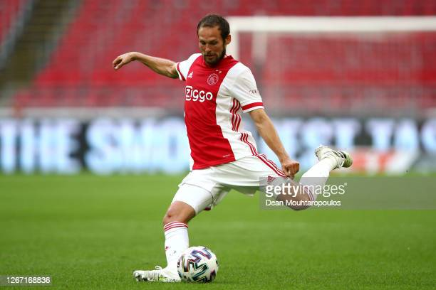 Daley Blind of Ajax in action during the pre-season friendly match between Ajax Amsterdam and RKC Waalwijk at Johan Cruijff Arena on August 08, 2020...