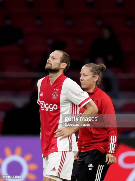 Daley Blind of Ajax leaves the pitch injuried during the Club Friendly match between Ajax v Hertha BSC at the Johan Cruijff Arena on August 25, 2020...