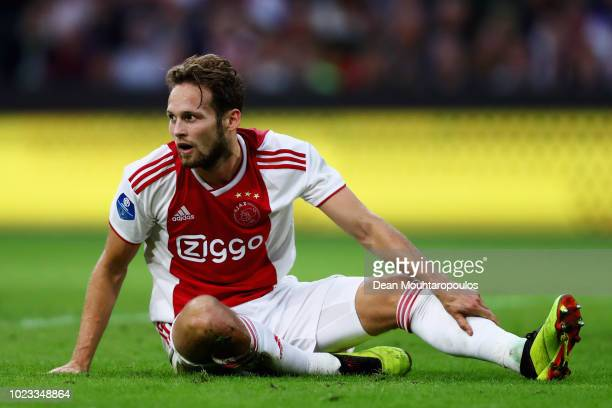 Daley Blind of Ajax looks on during the Eredivisie match between Ajax and Emmen at Johan Cruyff Arena on August 25 2018 in Amsterdam Netherlands