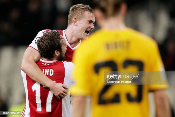 Daley Blind of Ajax, Matthijs de Ligt of Ajax celebrates the victory during the UEFA Champions League match between AEK Athene v Ajax at the...