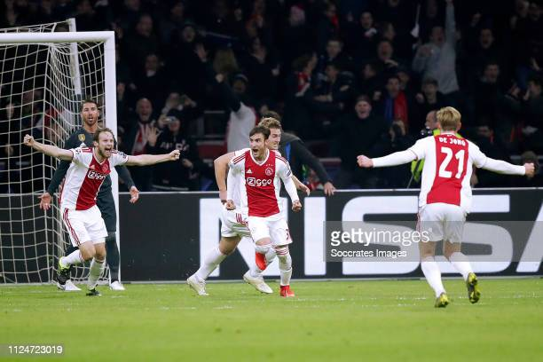 Daley Blind of Ajax Nicolas Tagliafico of Ajax Frenkie de Jong of Ajax celebrate cancelled goal during the UEFA Champions League match between Ajax v...