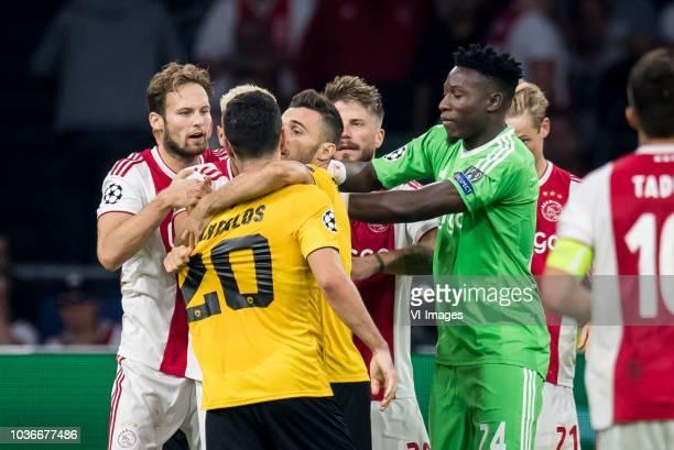 Daley Blind of Ajax Petros Mantalos of AEK Athens Giannis Gianniotas of AEK Athens Lasse Schone of Ajax goalkeeper Andre Onana of Ajax Frenkie de...