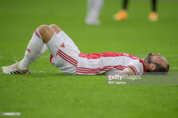 Daley Blind of Ajax with an injury during the pre season match between Ajax and Hertha BSC at Johan Cruyff Arena on August 25, 2020 in Amsterdam, The...