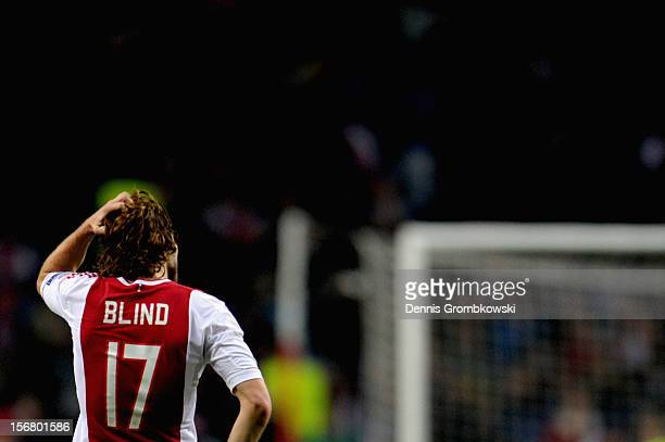 Daley Blind of Amsterdam reacts during the UEFA Champions League Group D match between Ajax Amsterdam and Borussia Dortmund at Amsterdam Arena on...