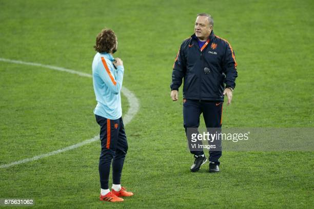 Daley Blind of Holland coach Dick Advocaat of Holland during a training session prior to the friendly match between Romania and The Netherlands on...
