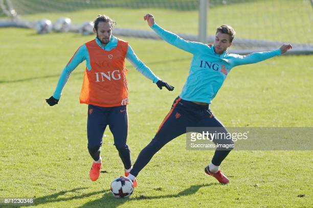 Daley Blind of Holland Joel Veltman of Holland during the match between Training Holland at the KVV Quick Boys on November 7 2017 in Katwijk...