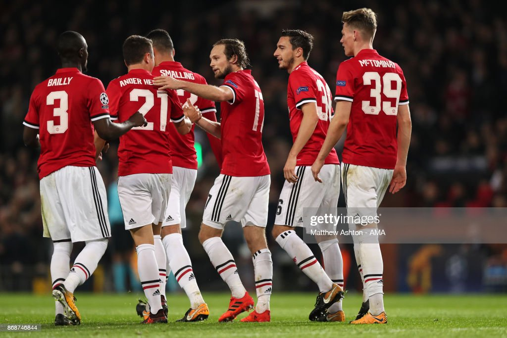 Daley Blind of Manchester United celebrates scoring a goal to make the score 2-0 during the UEFA Champions League group A match between Manchester United and SL Benfica at Old Trafford on October 31, 2017 in Manchester, United Kingdom.