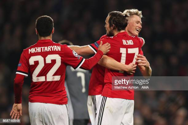 Daley Blind of Manchester United celebrates scoring a goal to make the score 20 during the UEFA Champions League group A match between Manchester...
