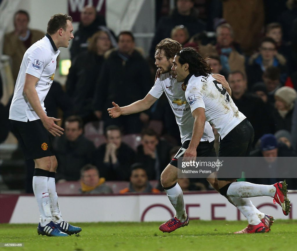 Daley Blind of Manchester United celebrates scoring their first goal during the Barclays Premier League match between West Ham United and Manchester United at Boleyn Ground on February 8, 2015 in London, England.