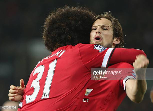 Daley Blind of Manchester United celebrates scoring their second goal during the Barclays Premier League match between West Bromwich Albion and...
