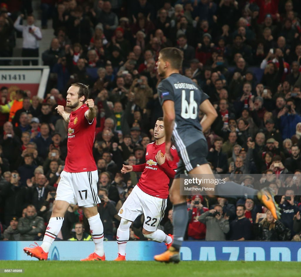 Daley Blind of Manchester United celebrates scoring their second goal during the UEFA Champions League group A match between Manchester United and SL Benfica at Old Trafford on October 31, 2017 in Manchester, United Kingdom.