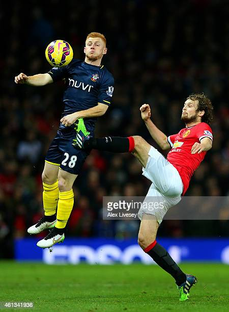 Daley Blind of Manchester United challenges Harrison Reed of Southampton during the Barclays Premier League match between Manchester United and...