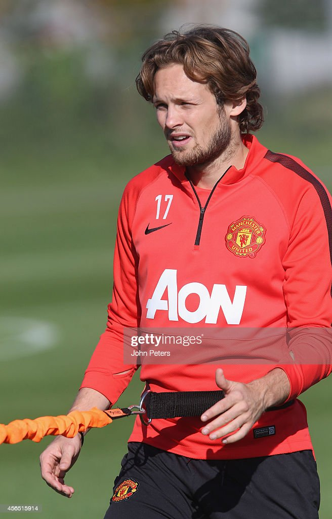 Daley Blind of Manchester United in action during a first team training session at Aon Training Complex on October 2, 2014 in Manchester, England.