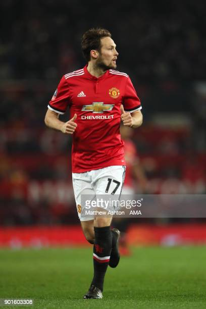 Daley Blind of Manchester United in action during the Emirates FA Cup Third Round match between Manchester United and Derby County at Old Trafford on...