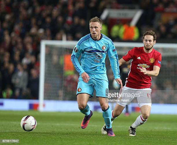 Daley Blind of Manchester United in action with Nicolai Jorgensen of Feyenoord during the UEFA Europa League match between Manchester United FC and...