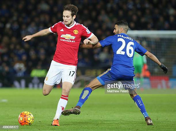 Daley Blind of Manchester United in action with Riyad Mahrez of Leicester City during the Barclays Premier League match between Leicester City and...