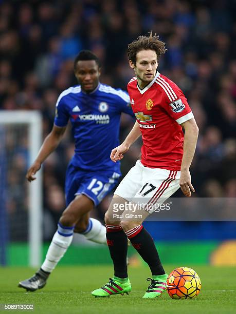 Daley Blind of Manchester United is closed down by John Mikel Obi of Chelsea during the Barclays Premier League match between Chelsea and Manchester...